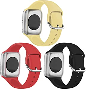 FRDERN Apple Watch Bands Compatible with Apple Watch 38mm 40mm 42mm 44mm Durable and Scratch-resistant Soft Silicone Replacement Strap for iWatch Series 5/4/3/2/1 & iWatch SE (Light Yellow/Red/Black, 38mm/40mm-M/L)
