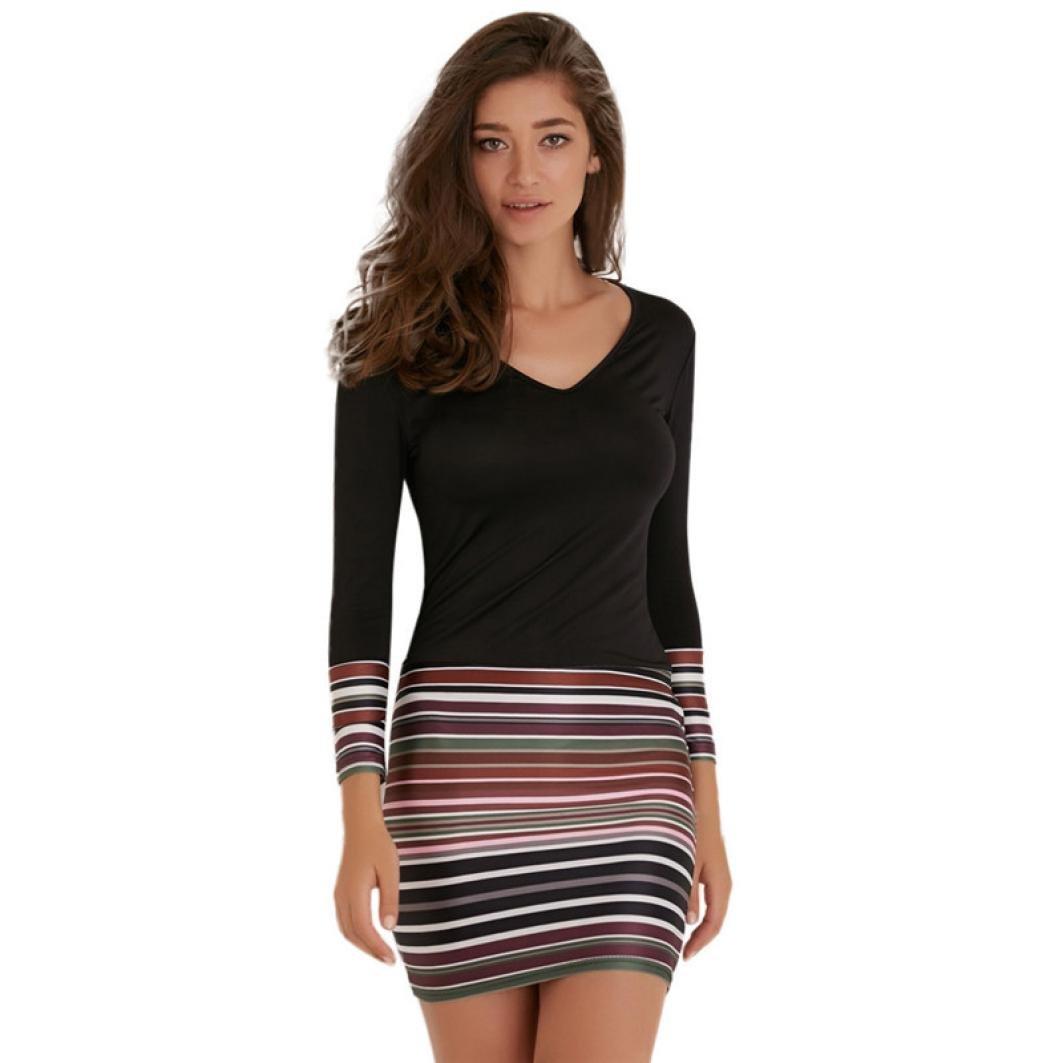 Rambling 2018 New Fashion Womens Striped Maxi Boho Long Sleeve Dress Ladies V Neck Evening Party Dress