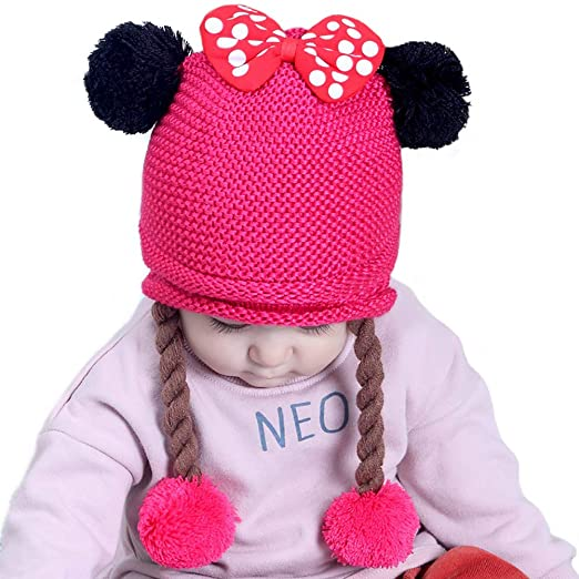 5f98b89a2 Amazon.com: Echolife Baby Girl Pom Poms Hat Winter Knitted Earflap ...