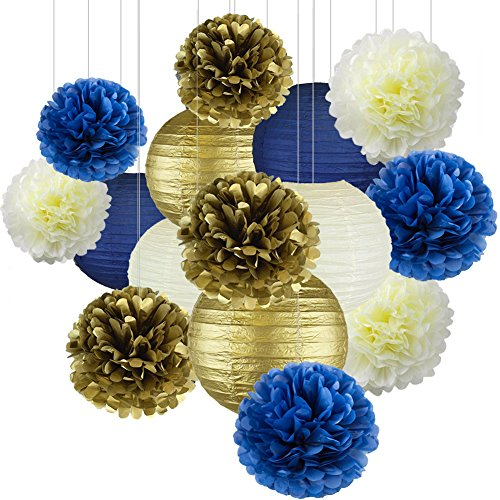 Navy Blue Party Decor Kit, Nautical Party Decorations, Cream Navy Blue Gold Hanging Pom Pom Flowers, Cream Navy Gold Paper Lanterns for Nautical Baby Shower Bridal Shower Wedding Birthday - Blue Silk Lanterns