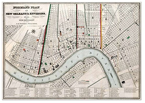 Norman's MAP Plan of NEW ORLEANS & Environs circa 1845 - measures 36