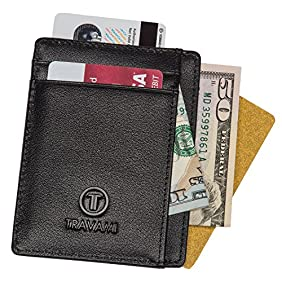 Travami - Front Pocket Wallets for Men - RFID Blocking Slim Leather Wallets