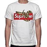 Beimpress T-Shirt Maglia Piton - Replica Supreme - Uomo Donna Unisex - Bianca