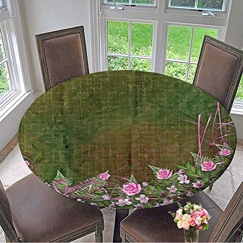 (Mikihome Circular Table Cover Writing Abstract Background with Floral Beautiful Bouquet for Wedding/Banquet 43.5