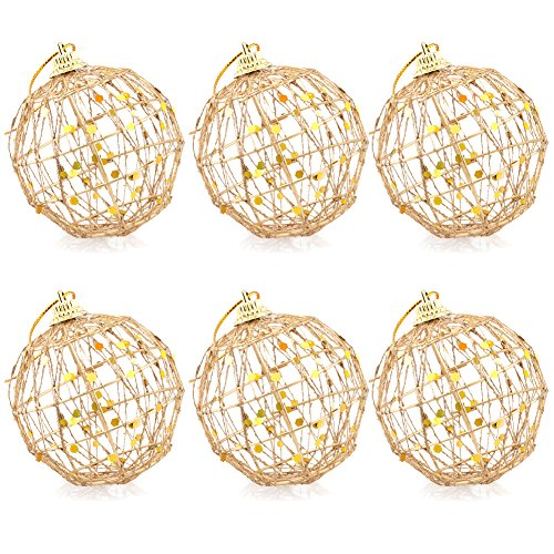 Gold Wire Christmas Tree Balls Hanging Ornaments Decorations, 6pcs ()