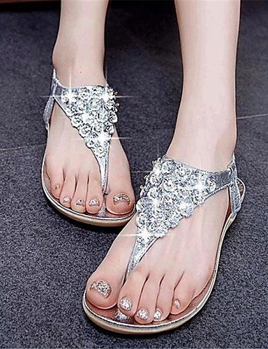 Similicuir Sandales Chaussures Shangyi Casual Argent Or Confort Plat Or Talon Femmes gPrHPI