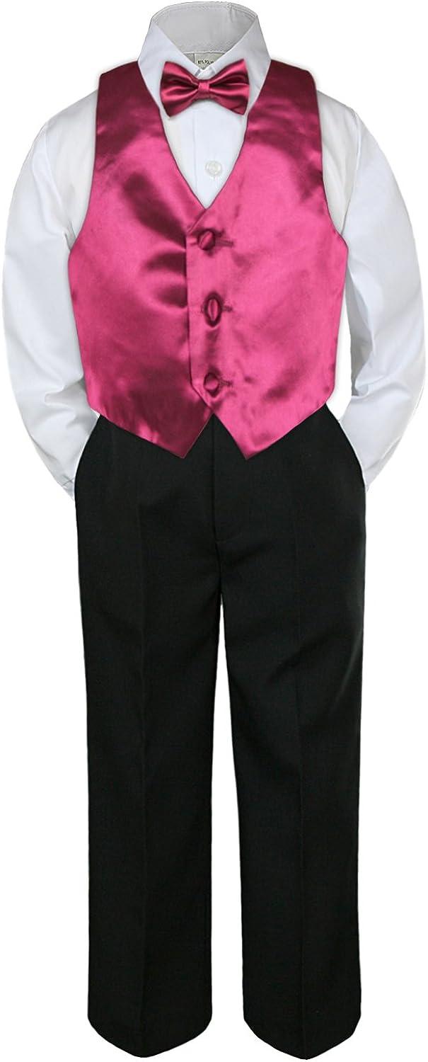 LEADERTUX 4pc Baby Toddler Kid Boy Party Suit Black Pants Shirt Vest Bow tie Set 5-7