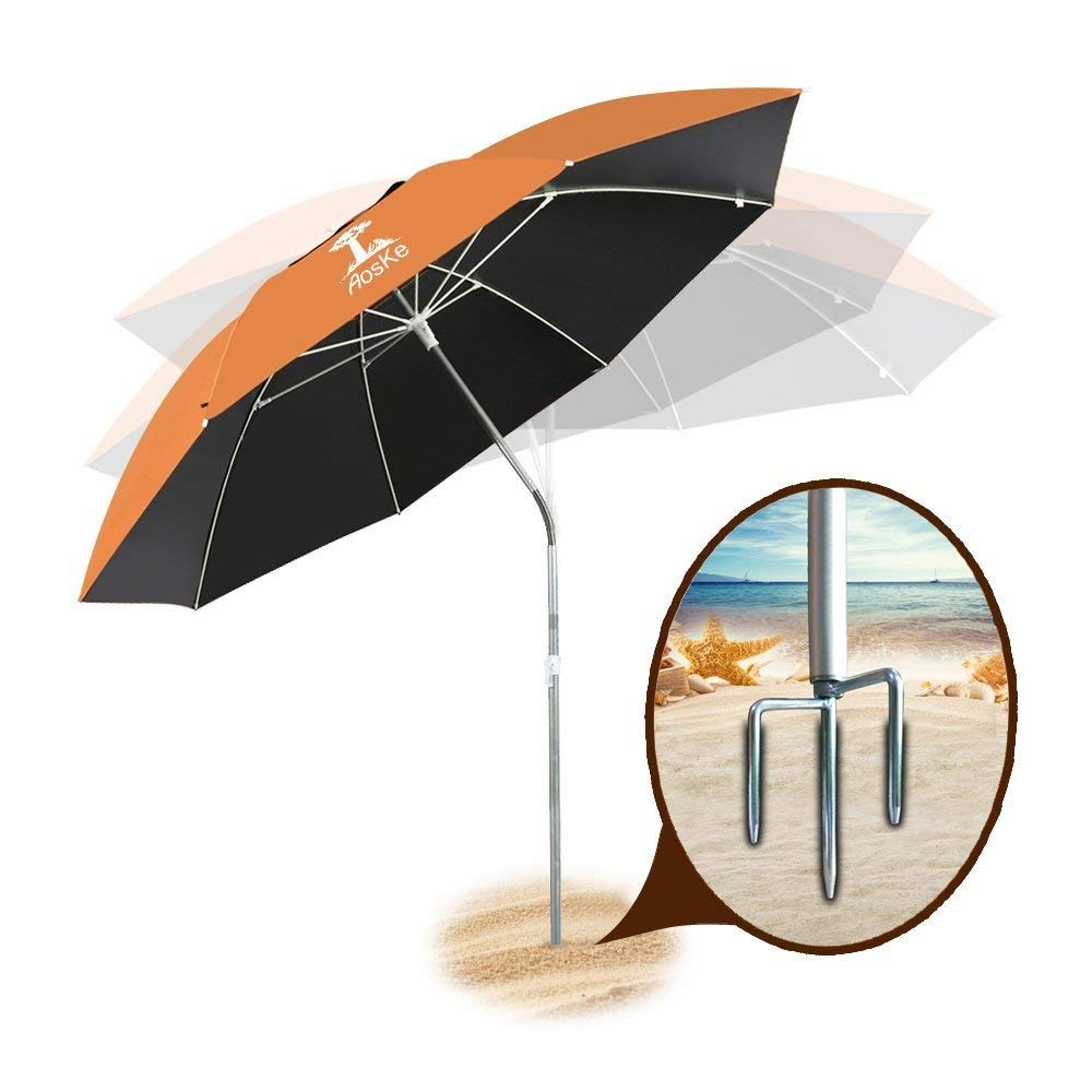 AosKe Portable Sun Shade Umbrella, Inclined, Heat Insulation, Resistance to 100% Harmful Sunlight, Commonly Used in Patio, Beach, Fishing Essential - Orange by AosKe