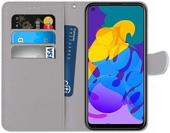 Chat Laybomo Coque Compatible pour Honor 9A /Étui Housse en Cuir Ultra-Mince avec Carte Fente Coque pour Honor 9A avec Fentes pour Cartes