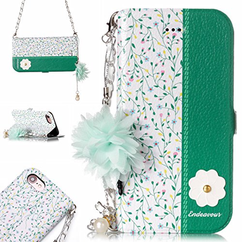 iPhone 8/7 Wallet Case, Dooge [Flower Painting] Premium PU Leather Detachable Magnetic Folio Flip [Handbag Design] Protective Case with Chain Card Holder Slot Wrist Strap for Apple iPhone 7/8