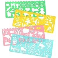 Ogquaton Plantillas de dibujo de plástico Regla Multi-Color