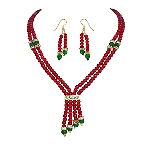 Surat Diamonds Two Line Red & Green Beads Necklace & Earring Set for Women (PS87) Jewellery Sets at amazon