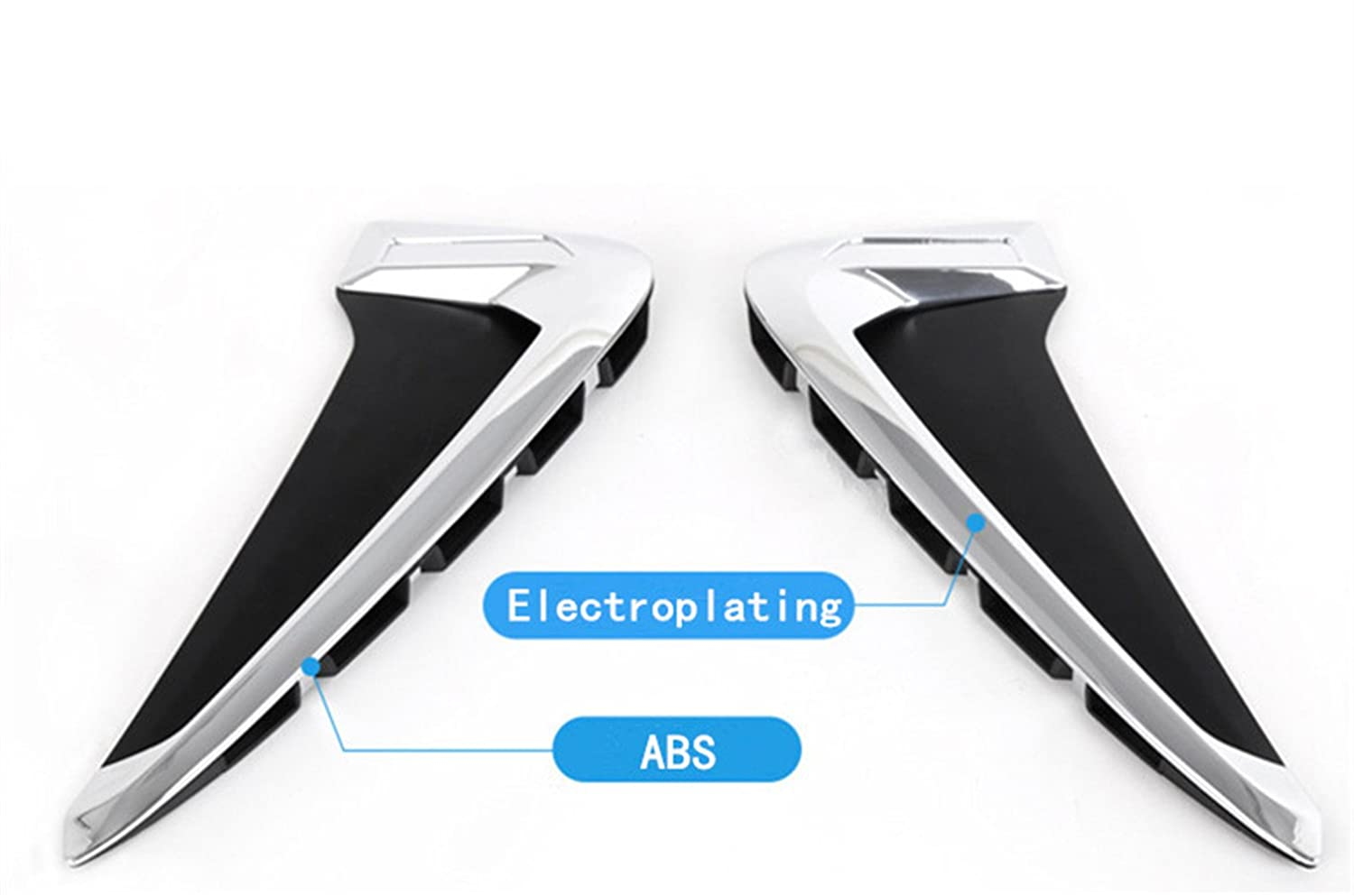 Baodiparts Car ABS Chrome Side Wing Air Flow Fender Intake Vent Cover Trim 2pcs