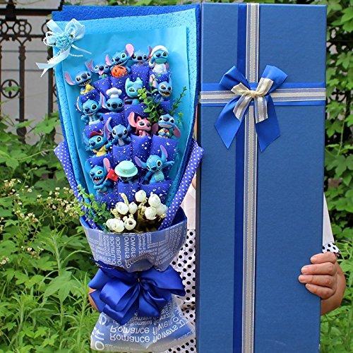 Stitch Soup Flower Stitch Plush Toys Hot Model Anime Lilo and Stitch PVC Animal Dolls Kawaii Stich Bouquet Romantic Gift (2) ()
