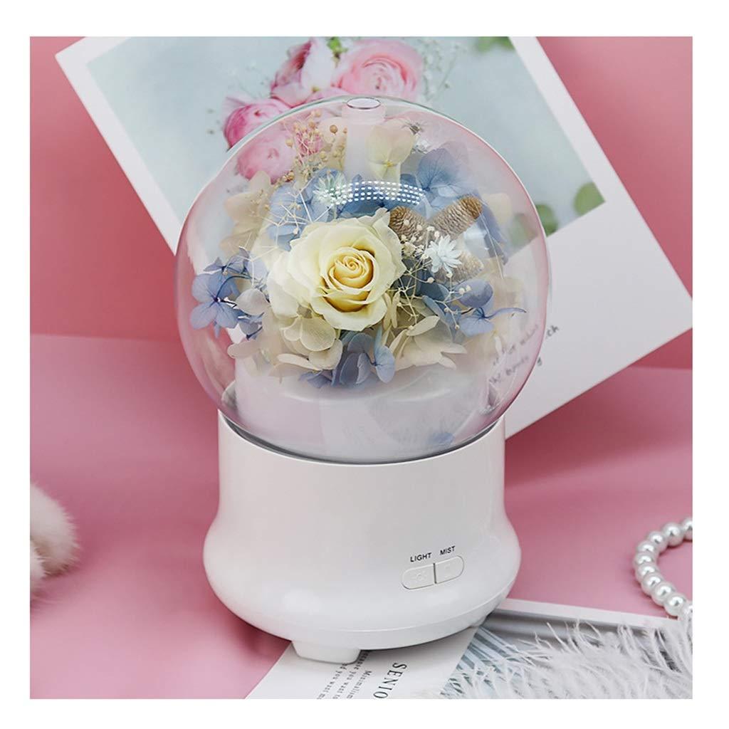 永遠の花、保存された新鮮なバラの花、バレンタインデー、母の日、誕生日のためのガラスカバー最高の贈り物 (色 : 黄)  黄 B07QKLZCKT