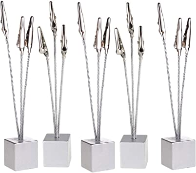 8 Clips Wire Photo Holder Card Note Memo Tree Display Cube Base Standing