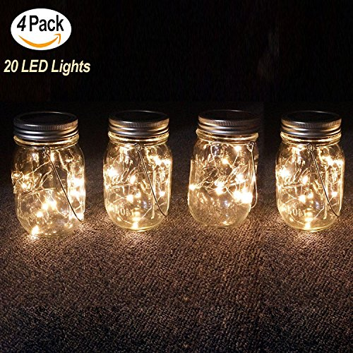 Cheap  4-Pack Solar Powered Mason Jar Lights Hanging Lights(Mason Jar & Handle Included),10..