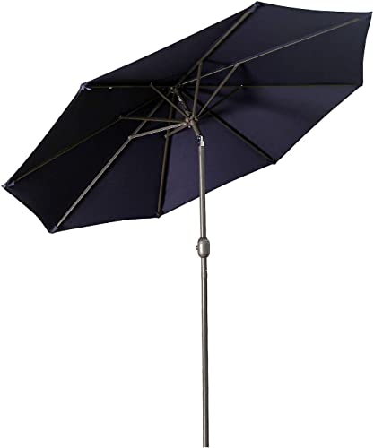 Aok Garden 9 ft Patio Umbrella Outdoor Table Umbrella with Push Button Tilt and Crank 8 Sturdy Ribs Fade Resistant for Patio Table, Market, Deck, Navy Blue