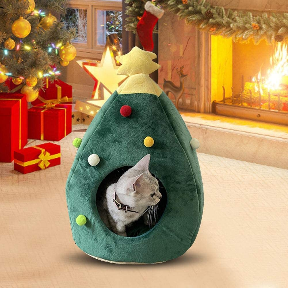 Urnanal Pet Tent Cave Bed Non-Slip Semi-Enclosed Winter Warm Pet Bed Christmas Tree Shaped Warm Plush Cat Bed Cave Pet Cosy Bed Cat Cave House Indoor Outdoor Pet Beds