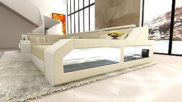 Sofa Dreams Leder Wohnlandschaft Arezzo U Form Beige Weiss Amazon