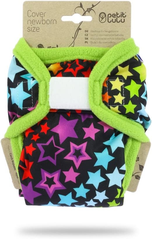Rainbow Stars Petit Lulu Cloth Nappy Cover Reusable Cloth Nappies Newborn Washable Diaper Wrap   Hook /& Loop Made in Europe 4.4-13.2 lbs
