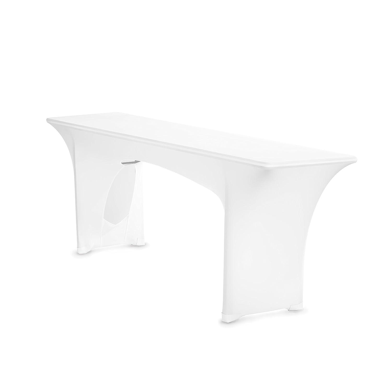 TexDeko Biertischhusse Stretch Amber für Bierzelttisch nur Tisch 220 cm Weiß 50cm TexDeko GmbH