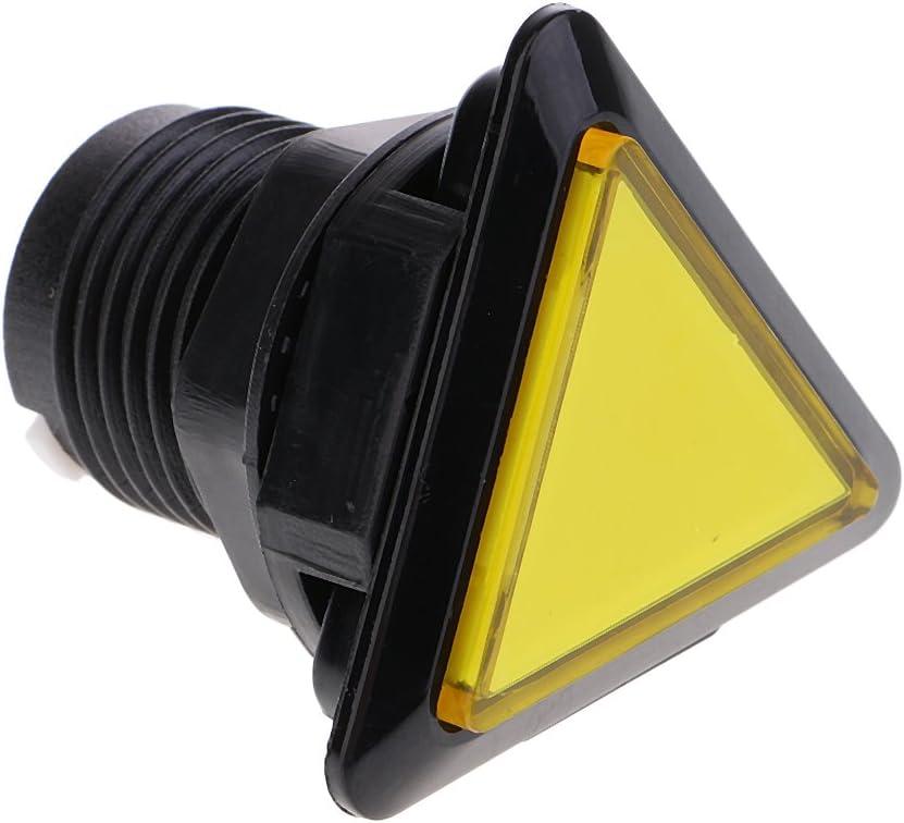 Triangle Arcade Game Machine Push Button w// 12V led lamp Illuminated 3.9 x3.9cm Yellow