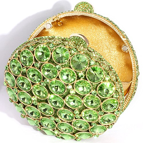 Green Crystal Clutch Shape Plated Rhinestone Gold Evening Purses Luxury Crystal Round Exquisite Digabi women Design Bags wqOpw7A