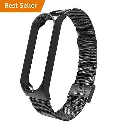 Lomire Correa de Reloj Inteligente de Pulsera Ajustable de Acero Inoxidable para Xiaomi MI Band 3, Negro