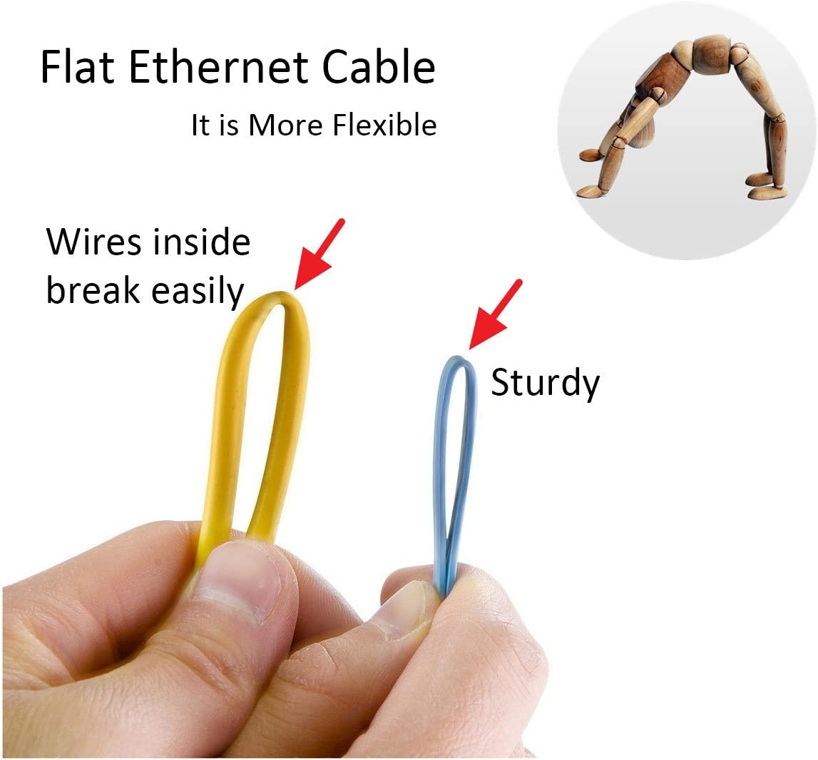 Internet Patch Cable Computer Networking Cord Black Slim Network Cable Flat Cat 6 Ethernet Patch Cable CelerCable 25 Feet Flat Ethernet Cable Cat6 25ft with Snagless RJ45 Connectors