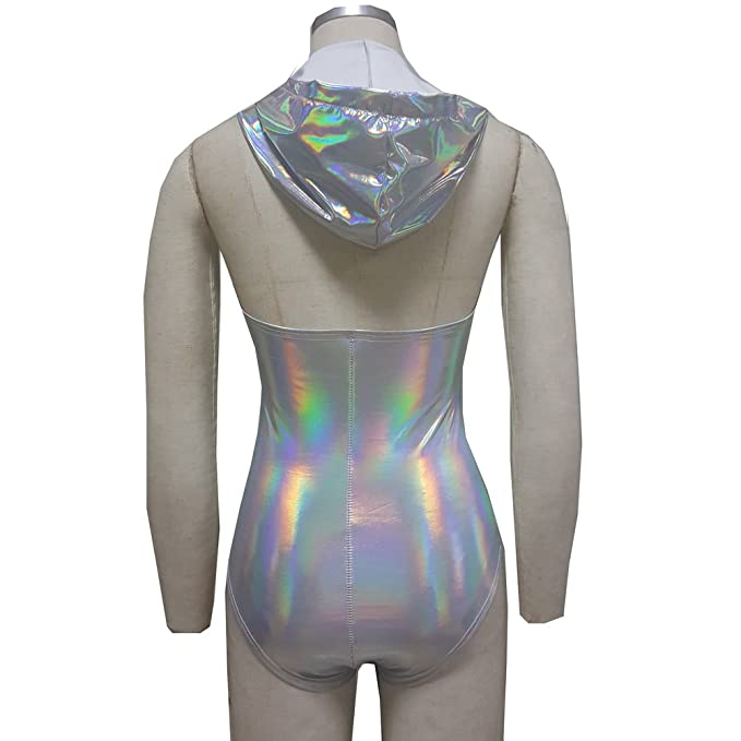 3e039644895 pinda Summer Musical Festival Burning Man Rave Clothes Holographic Hooied  Hooded Bodysuit Romper  Amazon.co.uk  Clothing