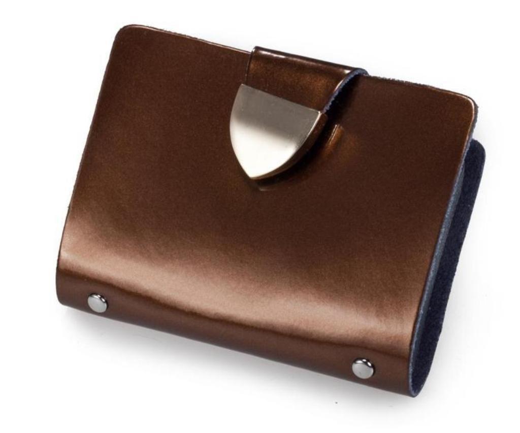 Brilliance Co Porte-Cartes (visite, Crédit, Fidélité) en Croûte de Cuir - Fermeture par bouton pression - (Contenance : 26 cartes) (Bronze - Cuir Verni) CL-312