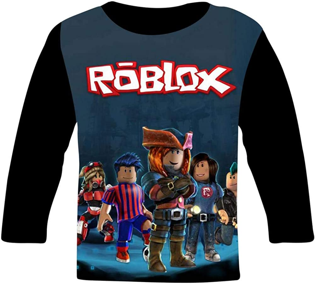 DHSZIA Youth R-oblox Long Sleeve T-Shirt Kids 3D Print Cartoon Tees