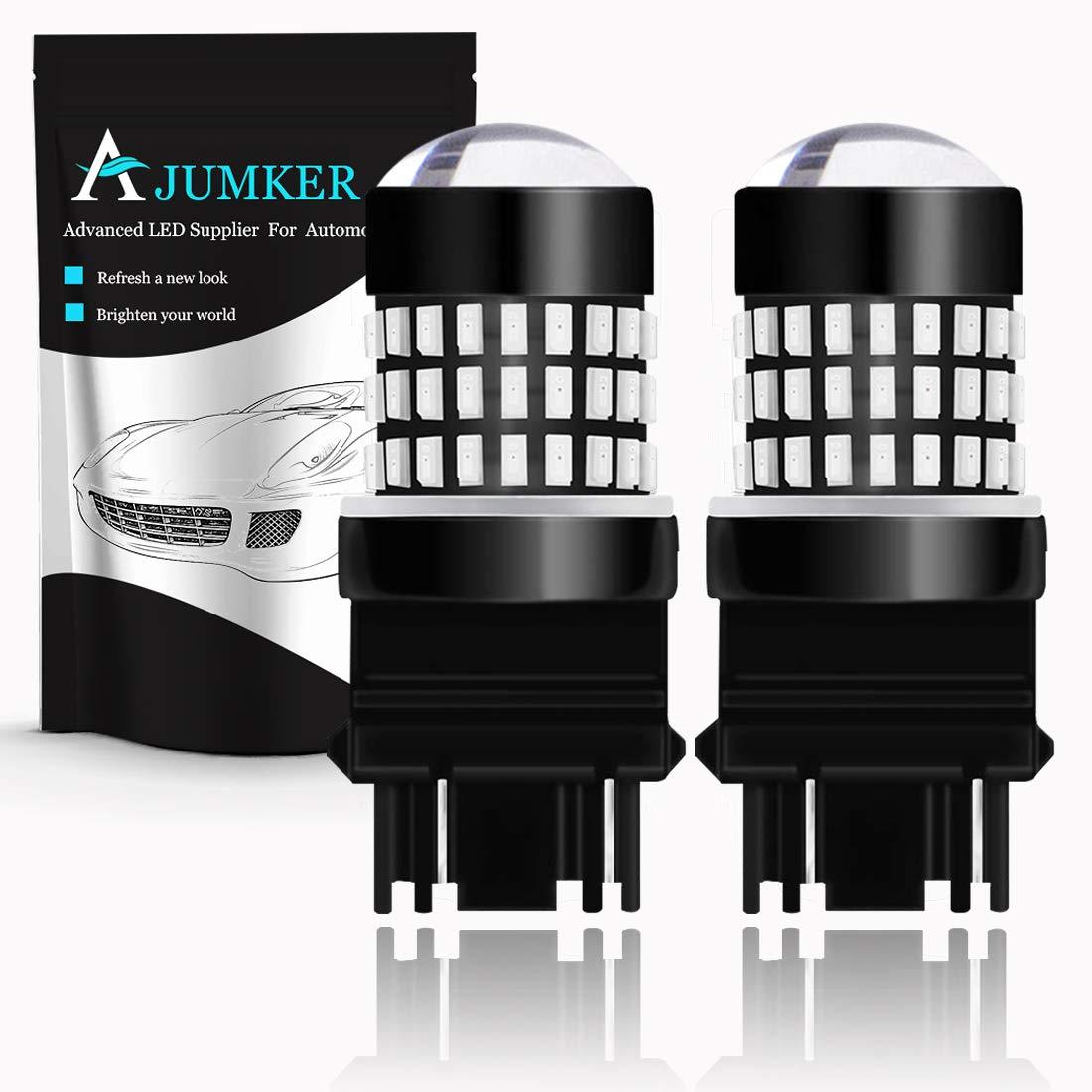 AJUMKER 1156 BA15S 1141 1003 7506 LED Bulb Red Extremely Bright 2400LM 3014-78SMD with Projector Lens,12-24V,Work as Back Up Reverse Lights,Brake Lights,Tail Lights,Rv Lights Pack of 2