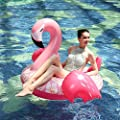 HANMUN Giant Inflatable Flamingo Pool Float - Swim Pool Floats with Rapid Valves Summer Outdoor Swimming Pool Party Lounge Raft for Kids Adult Outdoor Water Toy in River Pool Party by, Pink