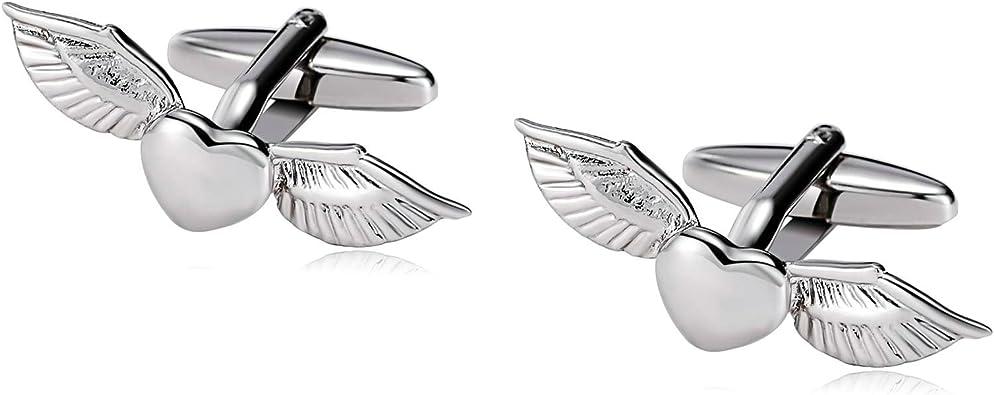 Blisfille Gemelos para Camisa Novio Gemelos de Corazón para Hombre Gemelos de Acero Plata Gemelos Forma de Alas del Corazon Volador,Plata: Amazon.es: Joyería