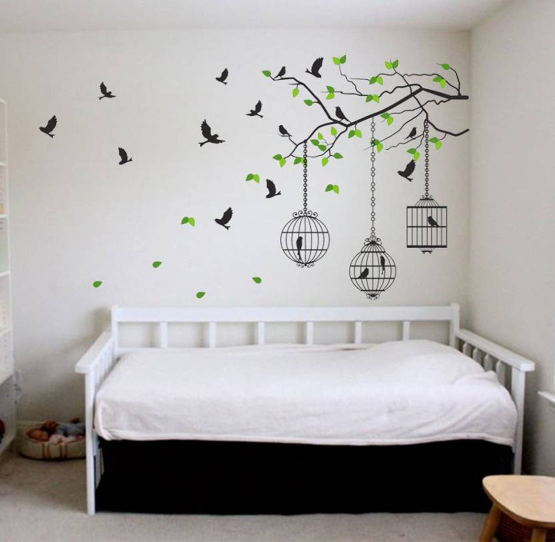 Buy Decals Design Tree Branches With Leaves Birds And Cages Wall Sticker Pvc Vinyl 50 Cm X 70 Cm Multicolour Online At Low Prices In India Amazon In