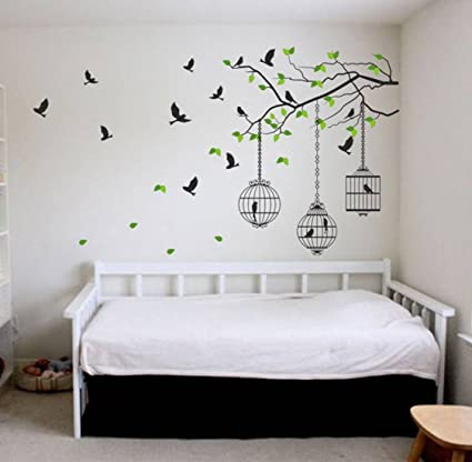 buy decals design wall sticker \u0027tree branches with leaves birds andbuy decals design wall sticker \u0027tree branches with leaves birds and cages\u0027 online at low prices in india amazon in