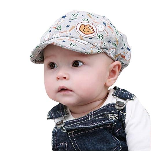 bab55e9a7d1 Usstore 1PC Kids Infant Hat Peaked Baseball Beret Headwear Cap Hat (Grey)