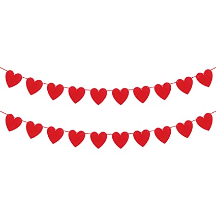 Katchon Felt Heart Garland Banner No Diy Valentines Day Banner Decor Valentines Decorations Anniversary Wedding Birthday Party Decorations