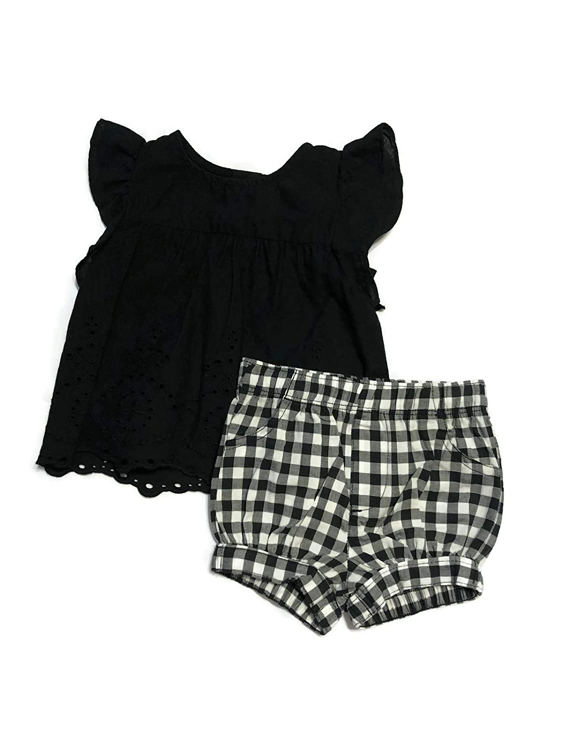 Carters Baby Girls 2 Piece Black Eyelet top and Black and White Gingham Shorts 12 Months