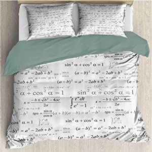 Waynekeysl Kids Duvet Cover Set, School for Math and Geometry with Science Formules Chalk Board Style, Decorative 3 Piece Bedding Set with 2 Pillow Shams, Full Size, Black and White