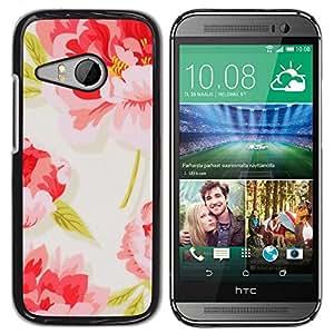 Be Good Phone Accessory // Dura Cáscara cubierta Protectora Caso Carcasa Funda de Protección para HTC ONE MINI 2 / M8 MINI // Floral Vintage Wallpaper Pink