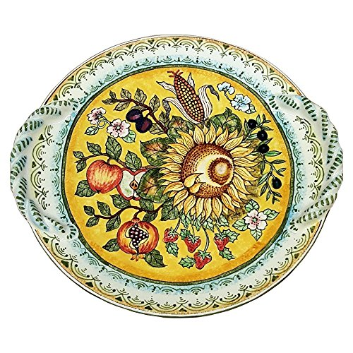 CERAMICHE D'ARTE PARRINI - Italian Ceramic Art Flat Centerpiece Plate Pottery Decorated Sunflower Hand Painted Made in ITALY Tuscan