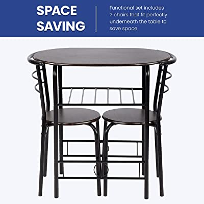 Buy 3 Piece Round Table And Chair Set For Kitchen Dining Room Bar Breakfast Compact Space Metal Frame Wine Rack Online In Poland B096fdj3vg