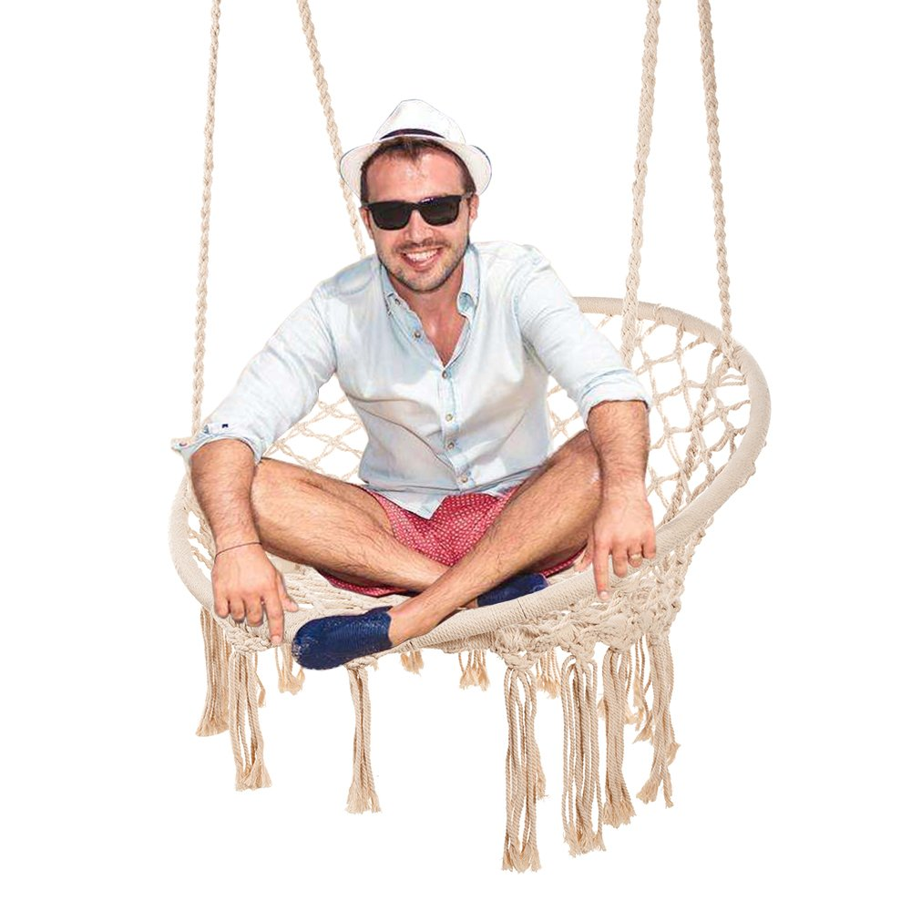 Techcell Hammock Chair Macrame Swing,Cotton Hanging Macrame Hammock Swing Chair Ideal for Indoor, Outdoor, Home,Bedroom, Patio, Deck, Yard, Garden 265 Pound Capacity