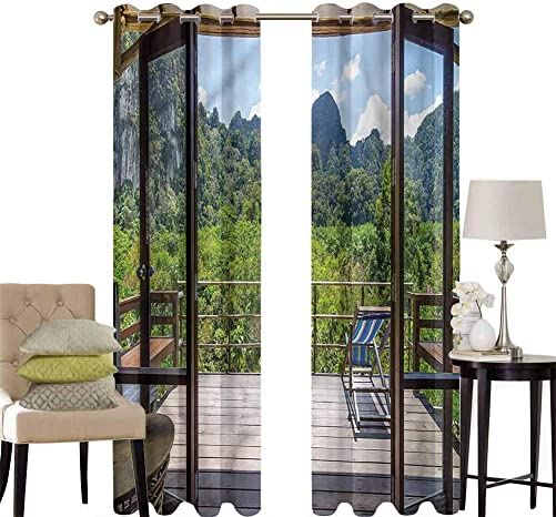 hengshu Modern Blackout Curtains for Bedroom Sunny Day Mountain View Thermal Insulated Soundproof Curtain W120 x L96 Inch