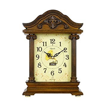 SESO UK- Reloj de Mesa Antiguo Americano de Mantla Reloj del carillón del Bluetooth Cada Hora Relojes Decorativos para la Sala de Estar (Color : Light ...
