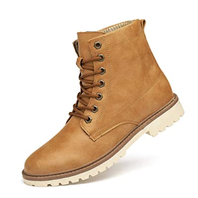 KENSBUY Men's Work Boots Lace-Up High Top Leather Cowboy Hiking Boot Chukka Waterproof Brown EU 43 | Chukka
