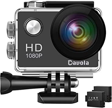 Action Camera Davola 1080P WiFi Sports Camera 12MP Underwater Waterproof Camera with Wide Angle Lens and Mounting Accessory Kits